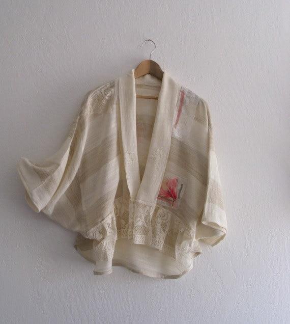 Romantic French Rustic Bolero Jacket/  Wearable Art Mori Girls Jacket/ Oversize Funky Jacket