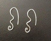silver wavy curl hammered earrings