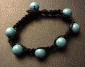 black hemp bracelet or anklet w/ turquoise resin beads