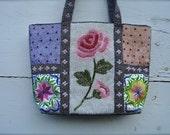 vintage beaded purse, rose design beaded handbag, rose beaded  handbag, beaded roses, pink beaded roses