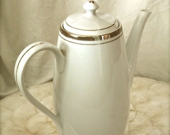 Vintage Porcelain White coffee pot, white porcelain coffee pot, White Coffee pot