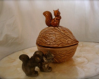 vintage squirrel and nut candy dish, thanksgiving decor, thanksgiving table