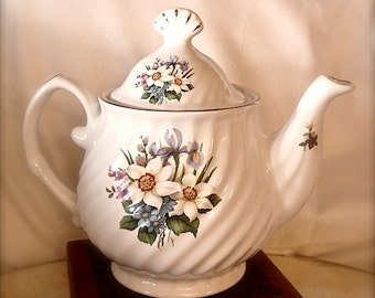 vintage Ivory Floral Teapot with swirl design by Baum Brothers Formalities