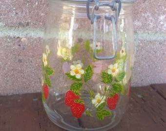 Strawberry jam, canning jar, France