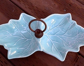 Vintage Sea Green Aqua Blue Ceramic dishes, candy dishes,  jewelry holder, catch all dish