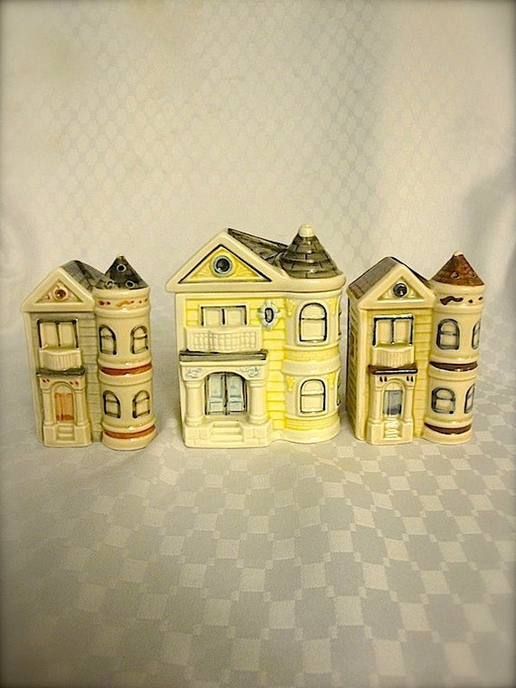 Victorian houses salt & pepper shaker, and sugar container