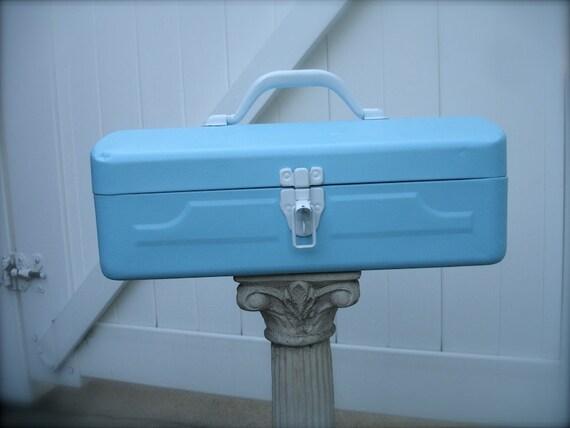 Vintage Tiffany Blue Metal Tool Box Industrial Metal Tool