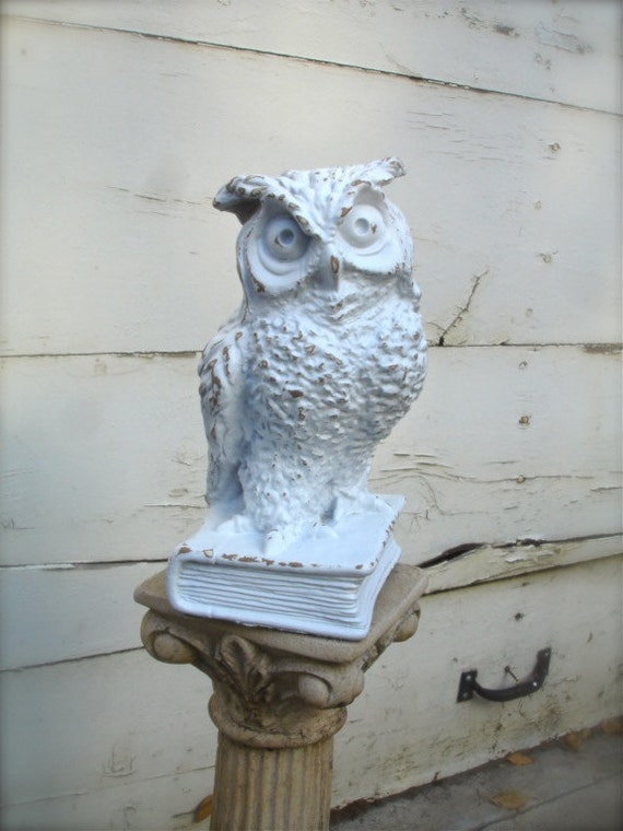 shabby owl wise old owl home decor white owl home decor