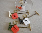 Square Giraffe Wine Glass Charms - Ready to Ship - (Set of 4)