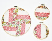 Three Patchwork Embroidery Hoops, Vintage Fabric