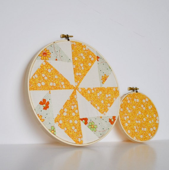 Two Patchwork Embroidery Hoops, Retro Fabric