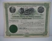 Historic 1906 Idaho mining certificate