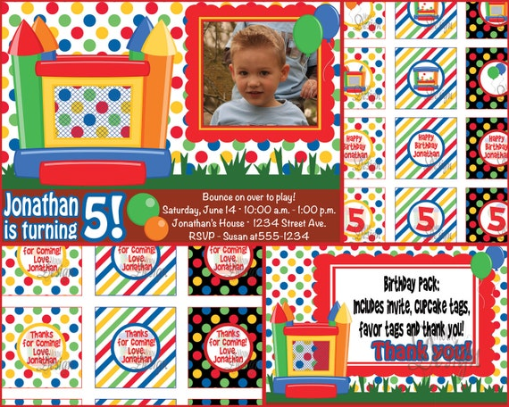 Bounce House Birthday Invite with FREE Thank You, Cupcake Signs, & Favor Tags - Digital Files - Boy or Girl