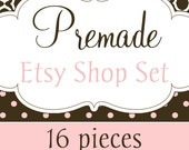 Premade Etsy Shop Banners Business Card Avatars and More 16-piece Collection - Pink Polka Dots