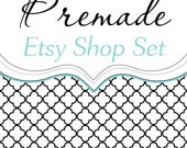 Premade Etsy Shop Set - Banners Avatars Placeholders - Simply Chic - Turquoise