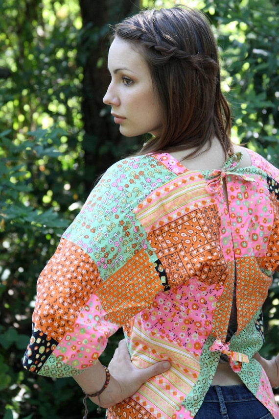 Bright Floral Patchwork Smock Apron