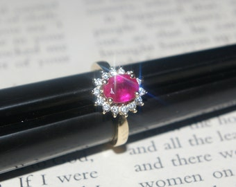 Vintage 14k Yellow Gold Ruby Diamond Ring Cocktail Estate 1.41 tcw. Appraised