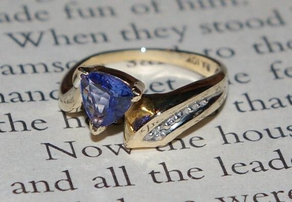 Estate Trillion Cut Tanzanite and Diamond 10k Yellow Gold Ring