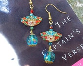 Earrings with Cloisonne Fans and Crystals: Passion and Drama for the Romantic