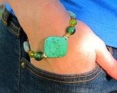 Gemstone Bracelet w/ Magnesite, Amazonite, Crystals & Glass