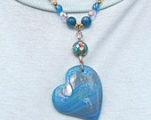 Swirly Blue Glass Heart Pendant with Agate, Rose Quartz, and Cloisonne