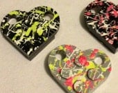 COLOR Splatter painted Lego HEART brick pendant on silver ball chain necklace