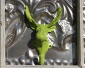 Moose Wall Hook / Bright Colors Purple - Lime Green / Pick One/  Moose Wall Hook-Jewelry Holder-Cast Iron-Rustic Home Decor-Lodge Decor