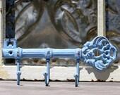 Key Rack/ Shabby Key Rack Hook/ Distressed Shabby Skeleton Key Rail in Cornflower blue French Cottage Style
