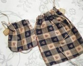 Primitive Gift Bag Set checkered pattern set of two in your choice