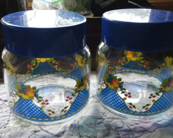 Sale Italian canisters set of two fruit and floral motif// Vintage Lilian Vernon