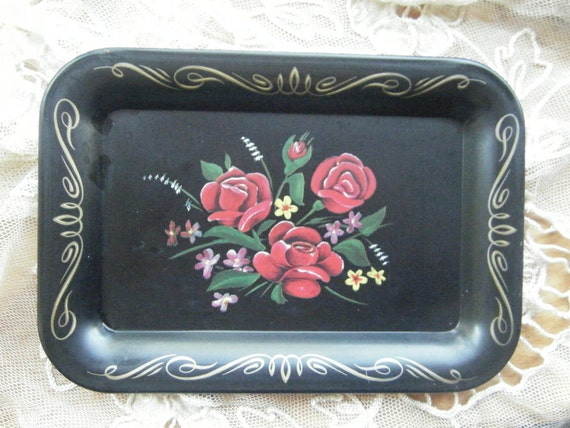 Four Black Lithographic Rose Trays Vintage Serve Coasters, Vintage Barware, Mid Century Home Decor