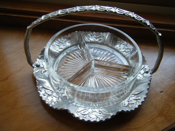 Vintage hammered aluminum and glass serve ware