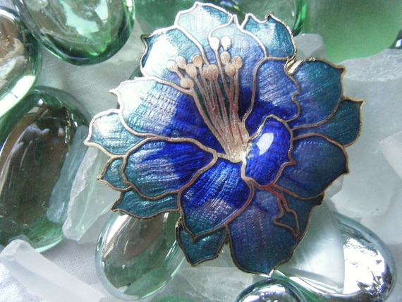 Stunning enameled and gold tone Blue Iris Vintage Brooch