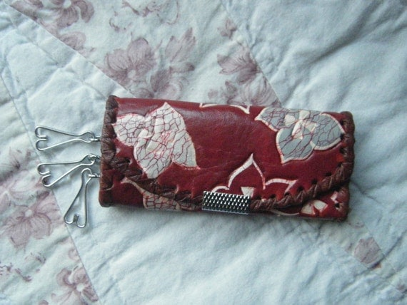 Red Leather Key Fob Vintage Hasi Hoto