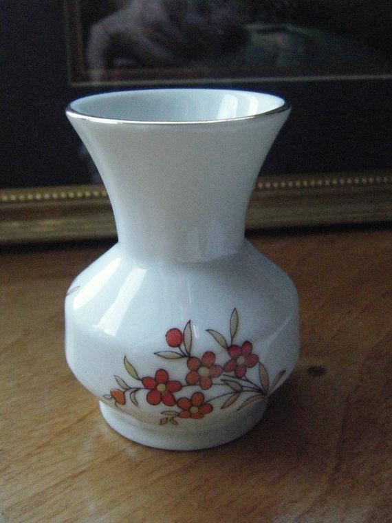 Vintage Mini Vase, Mini Vase Floral , Red Poppies Design, Made in Brazil, Mini Vase Poppies