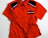 1960 Bowling Shirt Rockabilly / Red White Black / Medium - Buzz