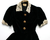 1940 Velveteen Lace Dress Cocktail Button / Black Ivory Gold / Medium - Dolly