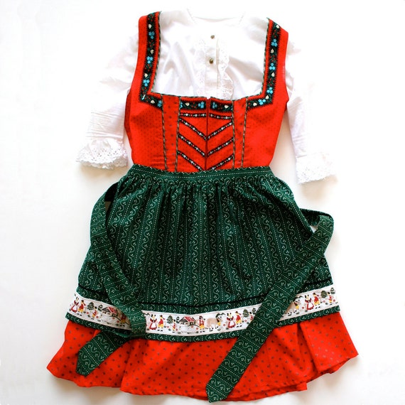 1960 Dirndl Dress German Apron Blouse Corset / Red White Green / Cotton Eyelet / Large - Gerda