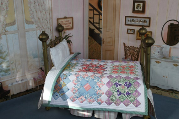 Doll Quilt from Vintage Fabrics -- Postage Stamp Courthouse Squares -- Q5