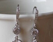 Royal CZ Round Drop Earrings