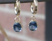 Sapphire Crystal Oval Earrings and Gold filled Hoops