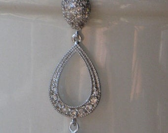 Kates Earring, Post Dangle Clear Crystal and Pave Drop Earrings, Silver Clear Crystal Earrings, Bridal, Weddings, Open Teardrop Earrings