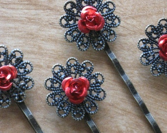 Red Rose Hair Pins or bobby pins