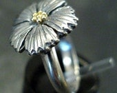 bachelor button ring - sterling silver, 18k gold