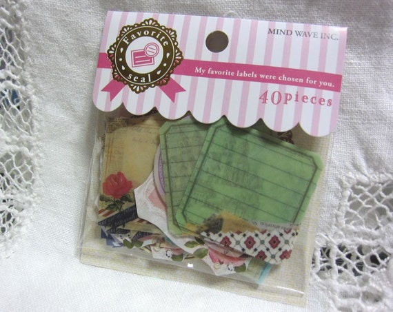 40 small sticker flakes collage tags vintage mix