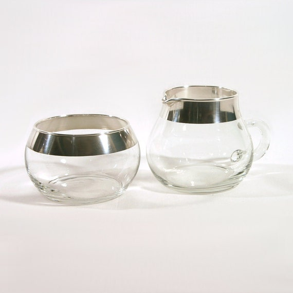 Dorothy Thorpe Silver Band Cream & Sugar Set, Glass with Silver Rim