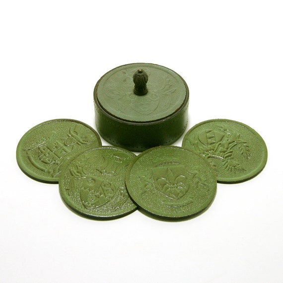 Coaster Set, Medieval Coats of Arms Design, Green Leather Look with Round Covered Holder, Set of 8, Four Different Designs, ca. 1960s