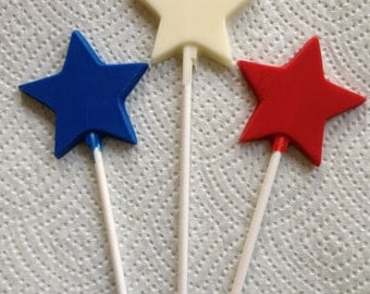 24 PATRIOTIC Stars Memorial Day 4th of July Chocolate Lollipop Party Favors Made to Order