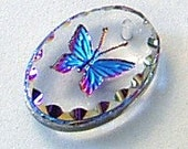 18mm Austrian Crystal HELIOTROPE Butterfly Pendant Charm Etched Oval Shape