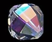2pc - 16mm Rare Vintage Swarovski Crystal AB Tapered Round Beads Spacers Article 346 aka 5004
